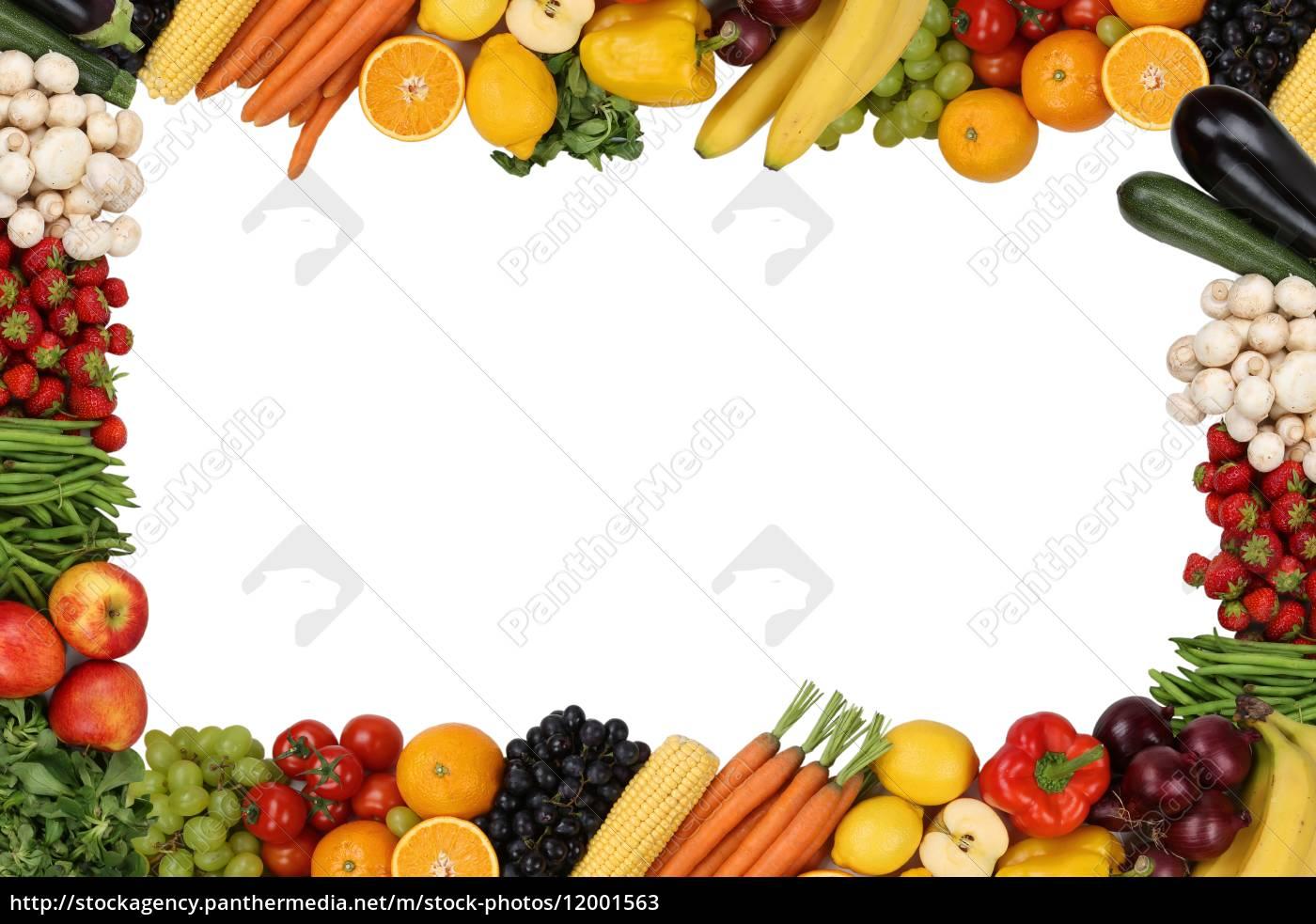 Rahmen aus Früchte, Obst und Gemüse mit Textfreiraum - Stockfoto ...