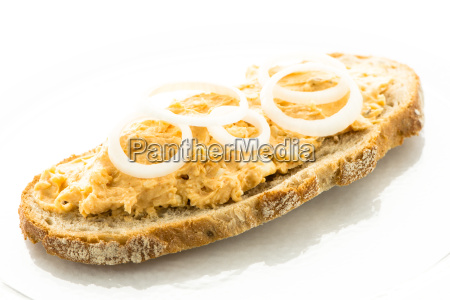 slice of bread with obatzer cheese