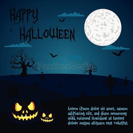 halloween illustration von kuerbissen auf dem