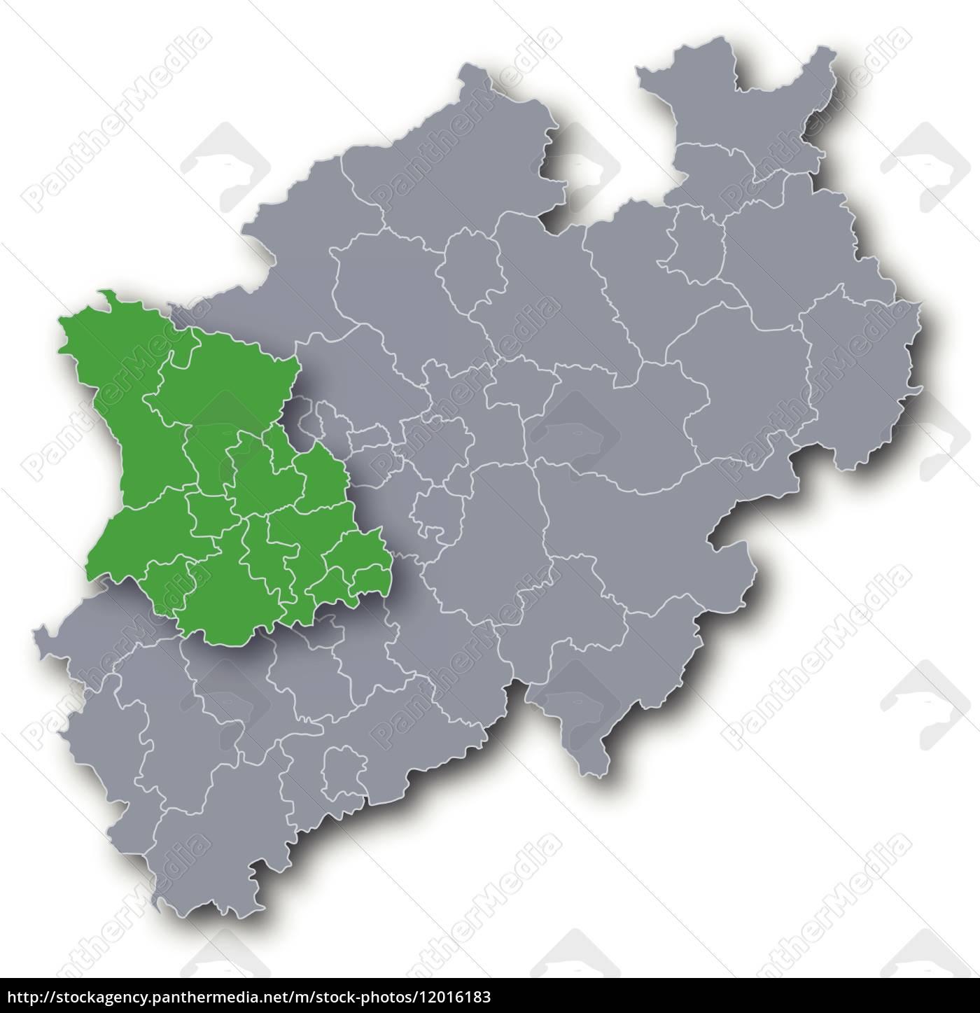 Düsseldorf Karte.Lizenzfreie Vektorgrafik 12016183 Karte Regierungsbezirk Düsseldorf