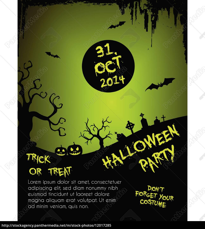 halloween-party-flyer-vorlage-grün, und, schwarz - 12017285