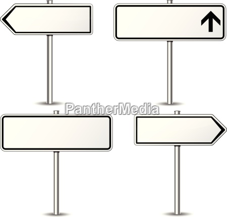 vector white signpost set
