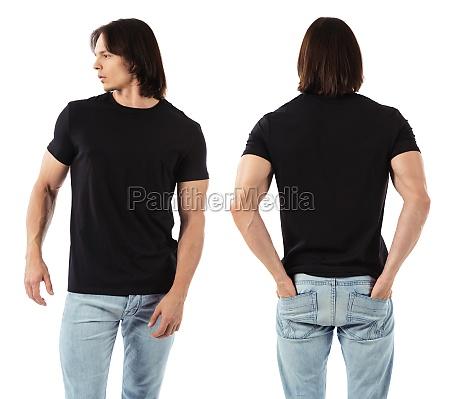 mann traegt leere schwarze hemd