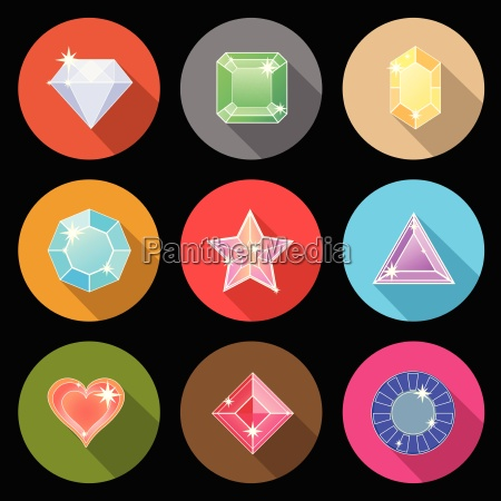 gem stone cutting flat color icons