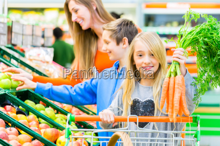 family shopping in the food market