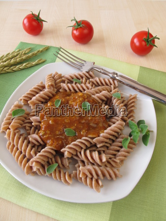 wholegrain pasta with green bolognese