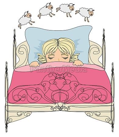kleines maedchen zaehlt schafe zum einschlafen