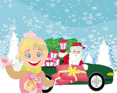 weihnachtsmann der auto mit weihnachtsgeschenken