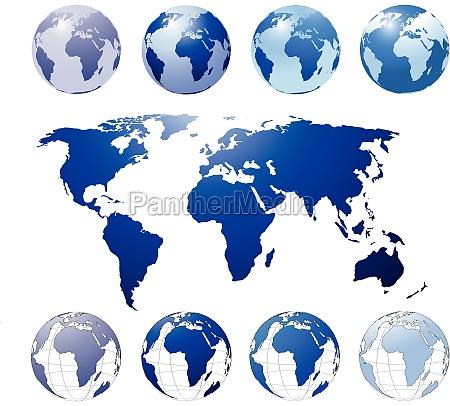 blaue weltkugel und landkarte