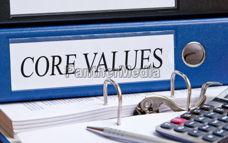 core values blue binder in