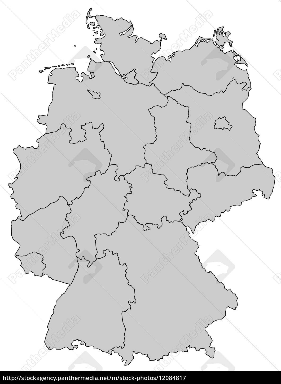 Deutschlandkarte Bundeslander Grau Lizenzfreies Bild