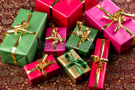 gifts wrapped in vibrant colors