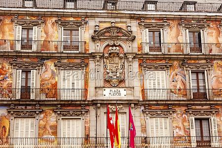 plaza, mayor, stadtbild, towers, madrid, spanien - 12097816