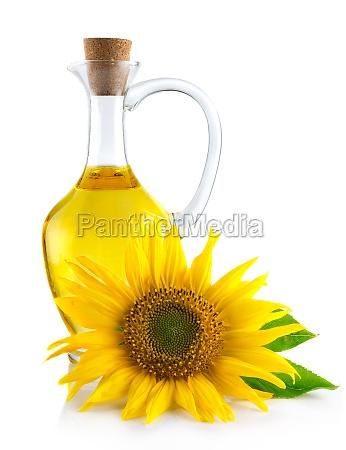 krug mit sonnenblumenoel isoliert auf weiss