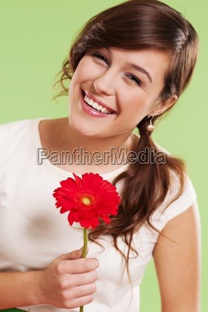 beautiful woman with gerbera