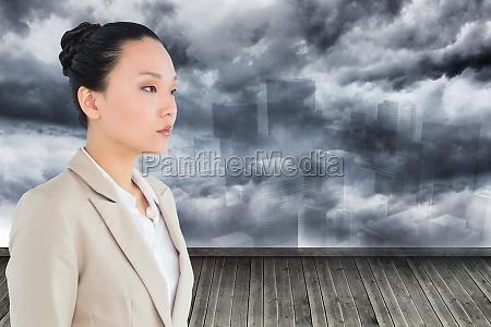 composite-bild, von, unsmiling, asiatische, geschäftsfrau - 12111978