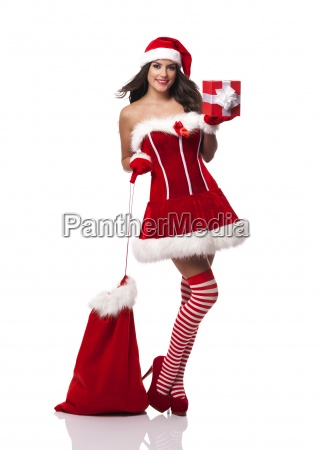 sexy woman with santa claus sack