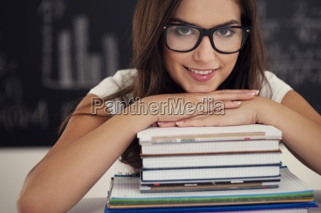 beautiful, female, student, with, books, - 12113696