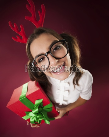 nerdy woman with horns and christmas