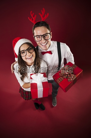 portrait of funny couple with christmas