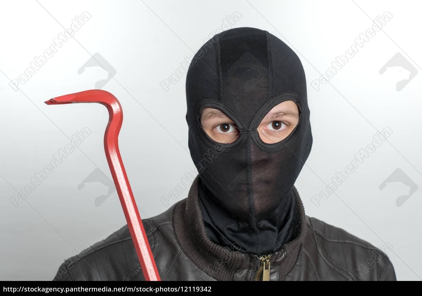 einbrecher, mit, sturmhaube, - 12119342