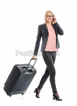 geschaeftsfrau mit reisekoffer