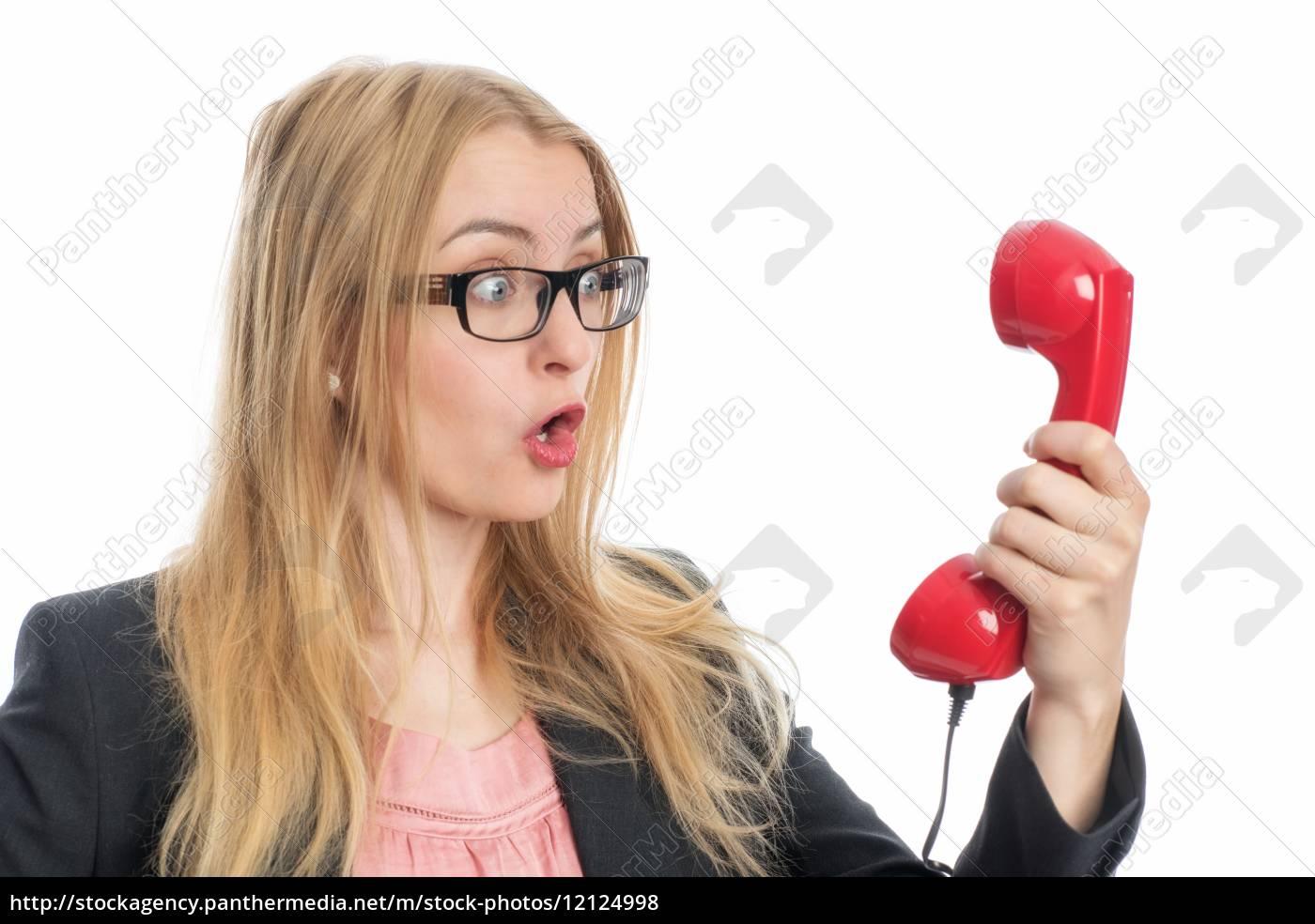 geschäftsfrau, am, telefonhörer - 12124998