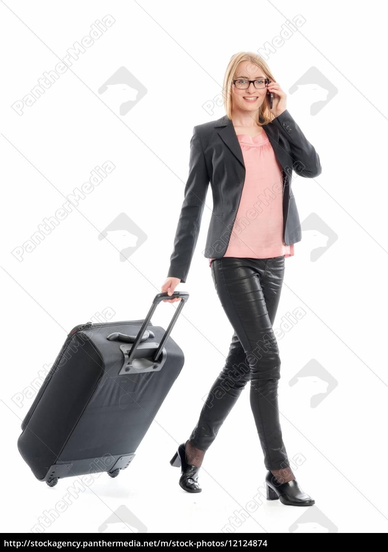 geschäftsfrau, mit, reisekoffer - 12124874