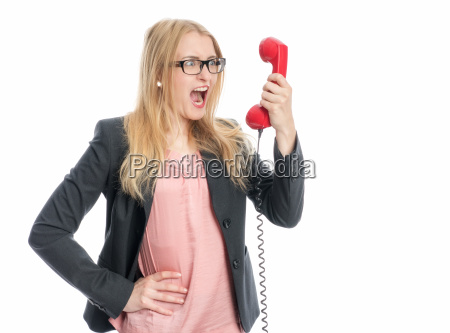 businesswoman on the phone handset