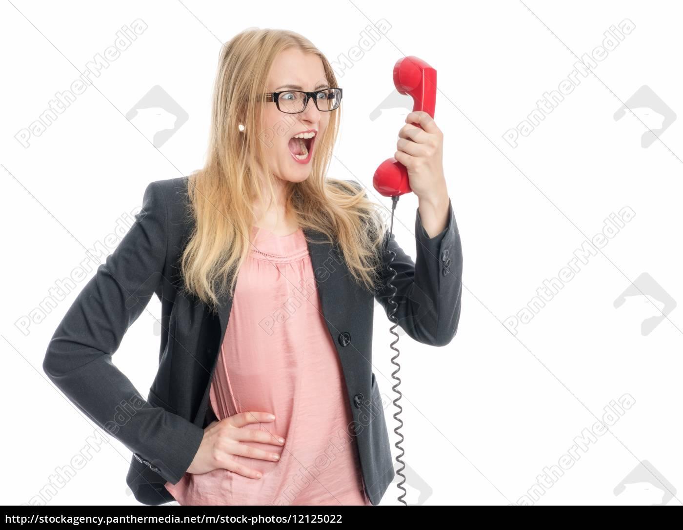 geschäftsfrau, am, telefonhörer - 12125022