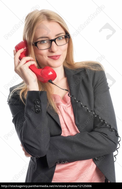 geschäftsfrau, mit, rotem, telefon, - 12125006