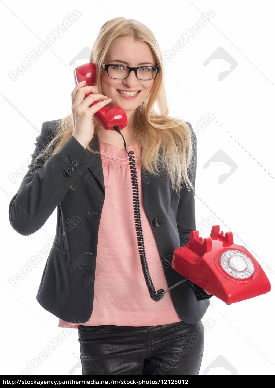 geschäftsfrau, mit, rotem, telefon, - 12125012