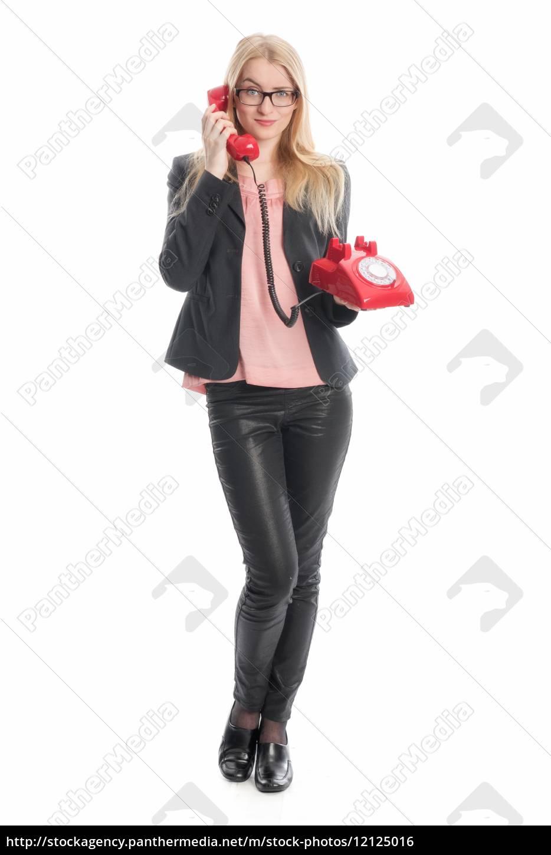 geschäftsfrau, mit, rotem, telefon, - 12125016