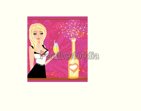 vector illustration of a champagne bottle