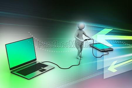 3d mann verbindet laptop und handy