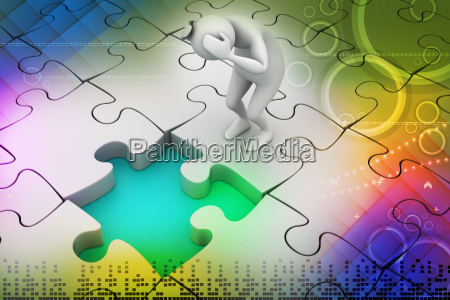 3d business man with puzzle piece