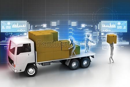 transporter lastwagen in fracht lieferung