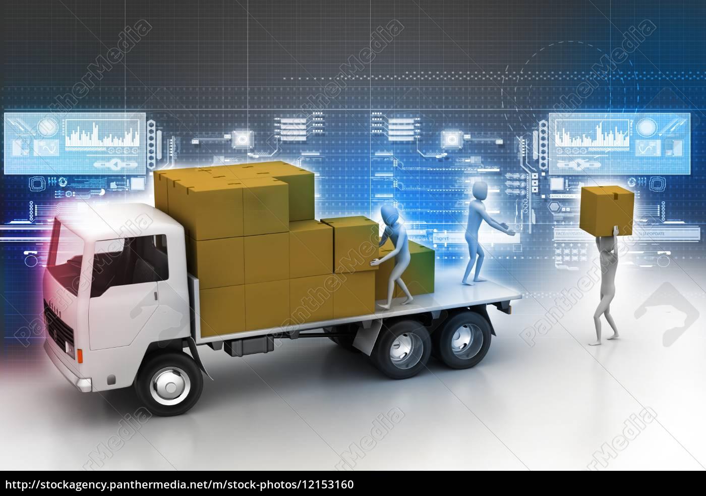 transporter, lastwagen, in, fracht-lieferung - 12153160