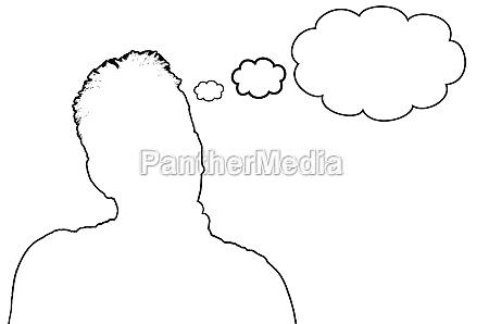 silhouette mann mit sprechblase symbolisch