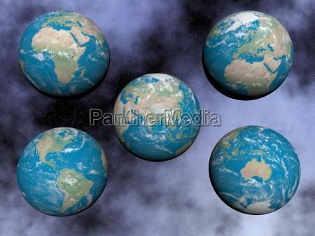 kontinente auf der erde 3d