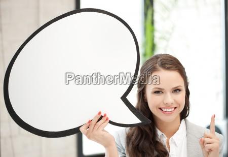 laecheln geschaeftsfrau mit blanker textblase