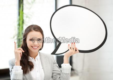 laechelnde geschaeftsfrau mit leerem text blase