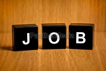 job word on black block