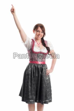 bavarian girl points a finger