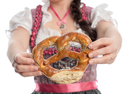 bavarian girl with pretzels