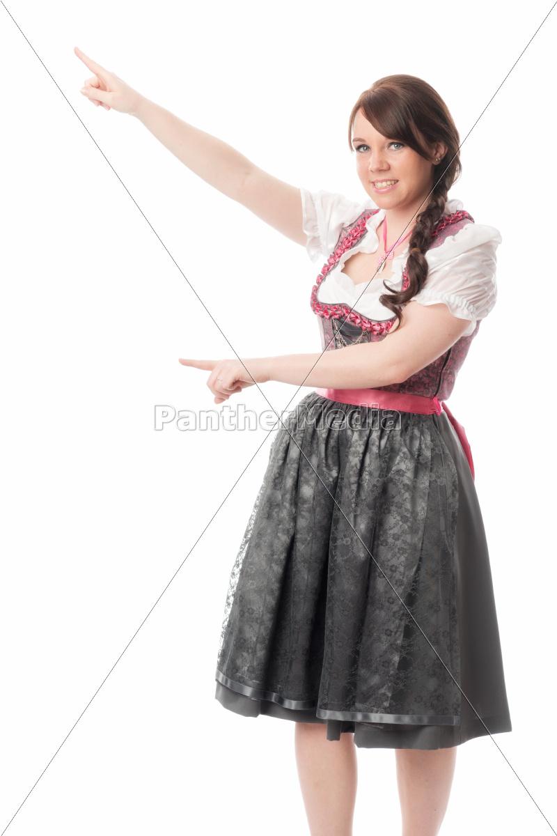 bayrisches, mädchen, zeigt, mit, dem, finger - 12210400