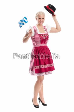 blonde, maid, mit, fahne - 12210468