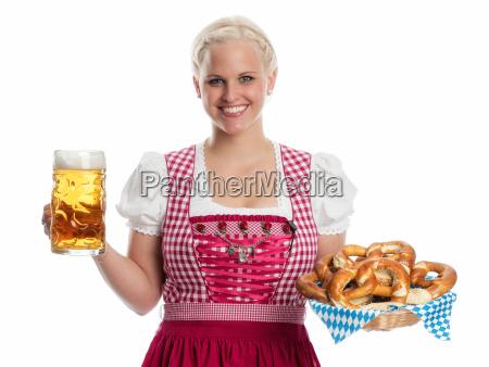 madl, mit, bier, und, brezel - 12210448