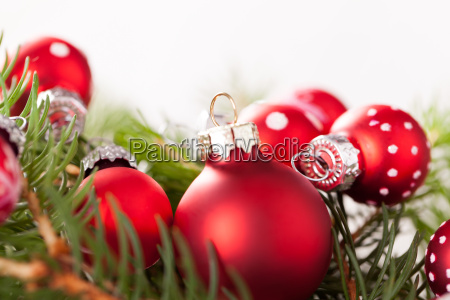 beautiful red christmas balls with tiny
