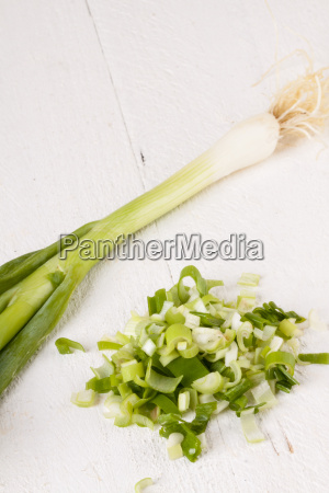 leeks spring onions with root as